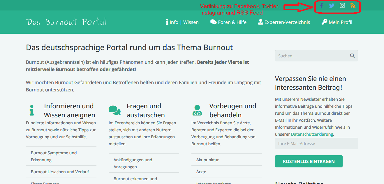 Das Burnout Portal Startseite