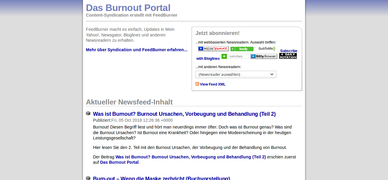 Das Burnout Portal als RSS Feed