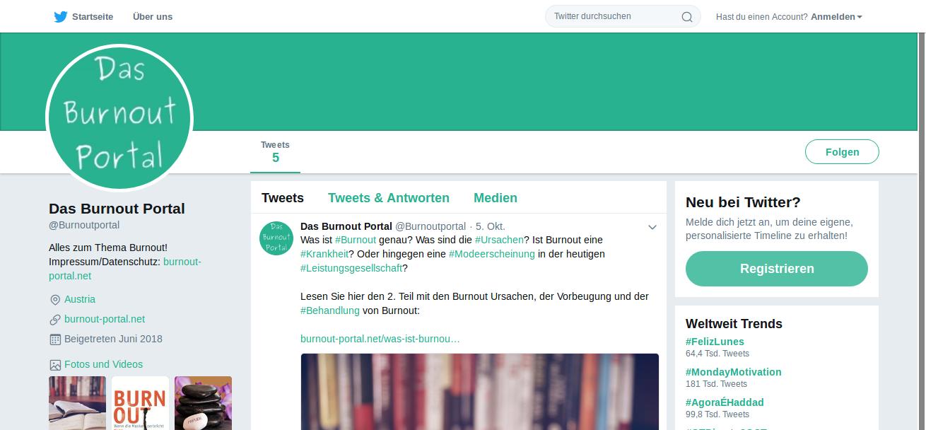 Das Burnout Portal auf Twitter